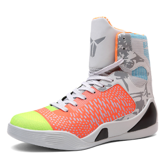Men hight-top autumn New style men's shoes basketball shoes (2090 gray green)