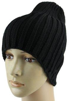 Men Hip-Hop Knit Ski Beanie Hat Slouchy Cap (Black)