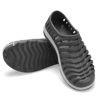 Men Hollow Sneakers Beach Sandals Slip On Loafer Slipper Breathable Stripe Shoes - 3