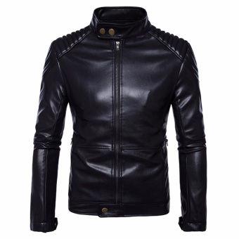 Men Leisure Top Quality PU Leather Motorcycle Jackets Black - intl