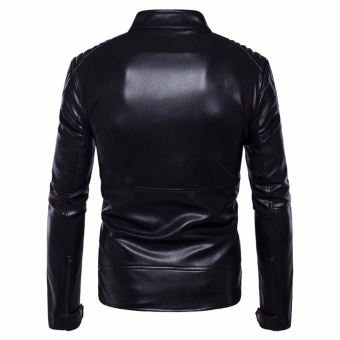 Men Leisure Top Quality PU Leather Motorcycle Jackets Black - intl - 3