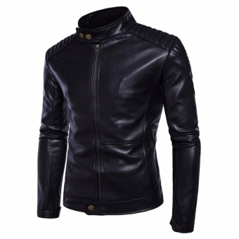 Men Leisure Top Quality PU Leather Motorcycle Jackets Black - intl - 2