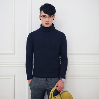 Men Long Sleeve Casual Turtleneck Winter Solid Color Warm KnittingPullover Sweater (Navy Blue) - intl