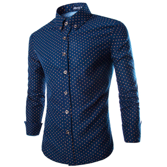 Men Luxury Long Sleeve T-shirts(Navy) - intl