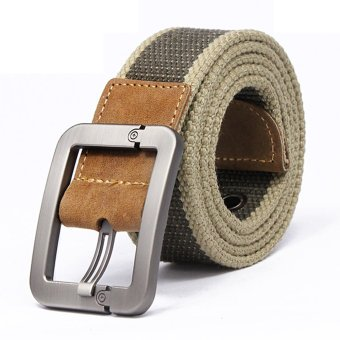 Men Military Tactical Nylon Belt Army Outdoor (khaqi stripe)- Intl