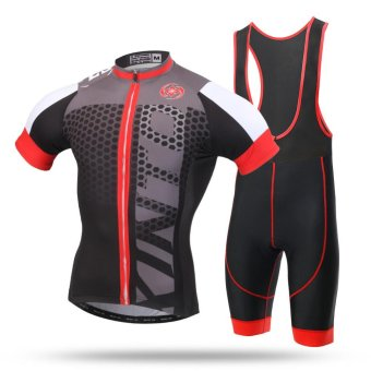 Men MTB Mountain Road Bike Sportwear Bicycle Jersey Set(Grey) -intl