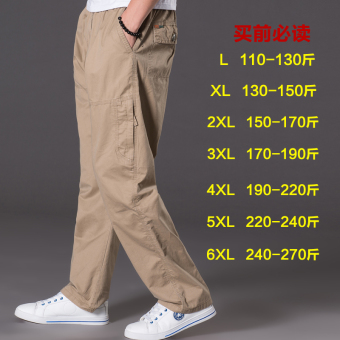 Men Plus-sized multi-with pockets trousers thin casual pants (2011 yellowish brown)