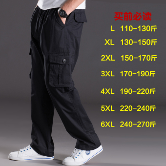 Men Plus-sized multi-with pockets trousers thin casual pants (2013 black)