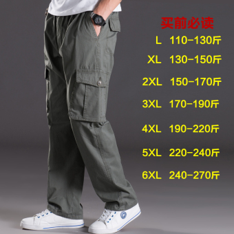 Men Plus-sized multi-with pockets trousers thin casual pants (2013 dark green)