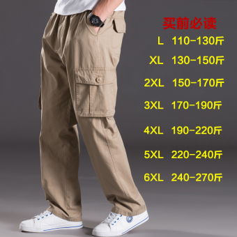 Men Plus-sized multi-with pockets trousers thin casual pants (2013 yellowish brown)