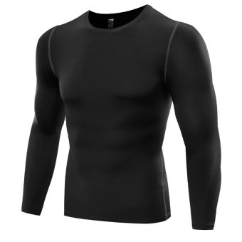 Men Pro Sports Running Fitness Compression Shirts Tight Base Layer Gym Body Shaper T Shirts Long Sleeve Tops - black - intl