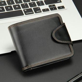 Men PU Leather Short Bifold Wallets (Black) - intl