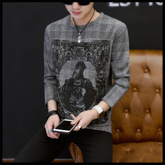 Men round neck Slim fit printed base shirt autumn long-sleeved t-shirt (Dark gray color)