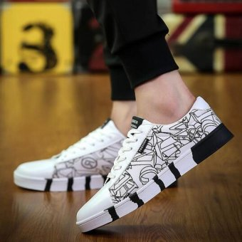 Men 's Shoes Fashion Sneaker Casual Shoes Low cut Canvas Shoes(White) - intl