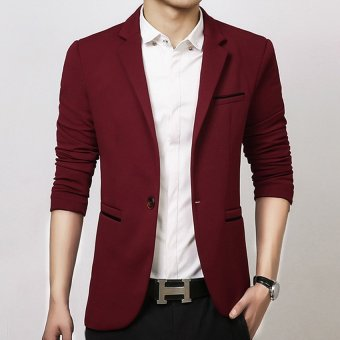 Men slim fit fashion cotton blazer Suit Jacket black blue khakiplus size M to 5XL Male blazers Mens coat Wedding dress(Red)