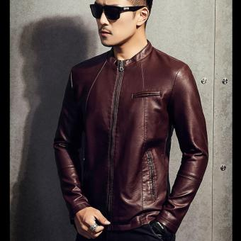 Men Slim PU Leather Jacket Classic Thick Warm Coat(Red) - intl - 4
