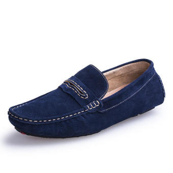Men Spring and Autumn Fashion Leather Loafers - Blue