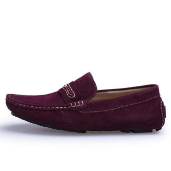 Men Spring and Autumn Fashion Leather Loafers - Wine Red - picture 2