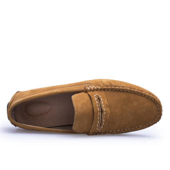 Men Spring and Autumn Fashion Leather Loafers (Yellow/Brown) - picture 2