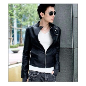 Men Stand Collar Slim Leather Jacket - intl - 3