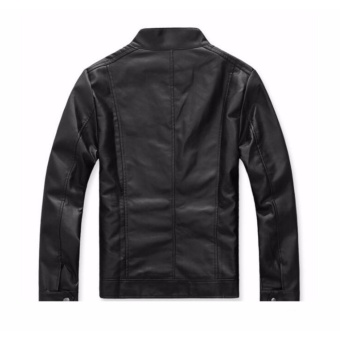 Men Stand Collar Slim Leather Jacket - intl - 2