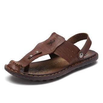 Men Summer Beach Shoes Sandals Fashion Designers Men Sandals Brand Leather Slippers for Men Sandals ( Dark Brown) - intl - 2