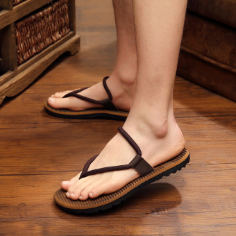 Men summer flip-flops beach slippers (Brown)