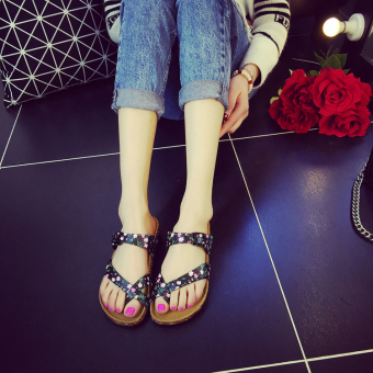 Men summer flip-flops slip slippers (Split toe black Suihua)