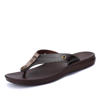 Men summer non-slip sandals and slippers flip-flops (Brown)