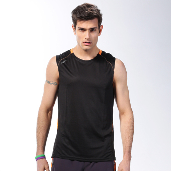 Men summer sleeveless quick drying clothes fitness clothing (K400 black vest)