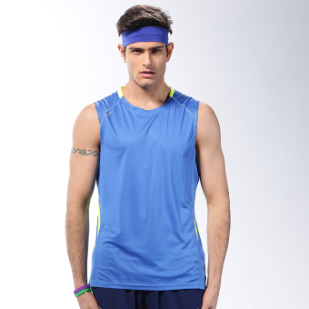 Men summer sleeveless quick drying clothes fitness clothing (K400 blue vest)
