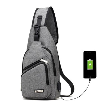Men Travel Chest Pack Single Rucksack Chest Bags Shoulder Crossbody Bag External USB Charge Backpack Women Back Pack - intl