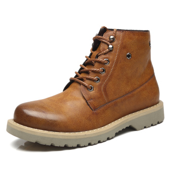Men trendy shoes in hight-top boots Dr. Martens (Yellow)