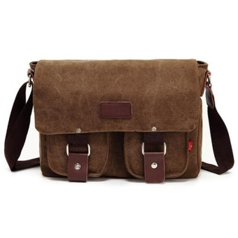 Men Vintage Canvas Messenger Shoulder Bag (Coffee) - intl
