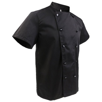 Men Women Double Breasted Short Sleeve Chef Coat Restaurant CookUniform T-shirt Jacket - intl