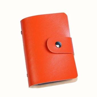Men Women Leather Credit Card Holder Case Card Holder WalletBusiness Card OR - intl - 2