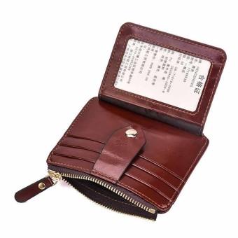 Men Women Oil Wax Leather Wallet Card Holder Coin Purse Buckle Zipper Bag - intl