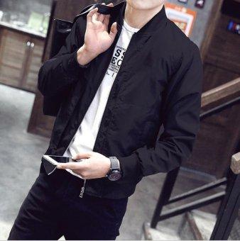 Men's Bomber Jacket Slim Coat Zipper Outwear Black - intl - 2
