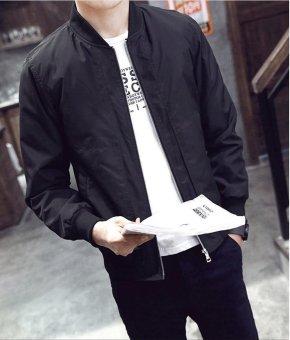 Men's Bomber Jacket Slim Coat Zipper Outwear Black - intl - 4