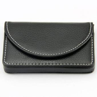 Men's Business Name Card Leather Wallet Holder with Magnetic Shut Black - 3