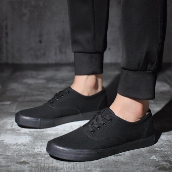 Men's Canvas Sneakers All Black With Lace - Black