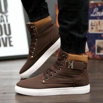Men's Casual Boots Men High-Cut Shoes Fashion Sneaker (Brown)(Intl) - 2