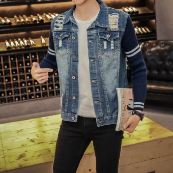 Men's Casual Jeans Coats Regular Denim Jackets With Ripped - intl