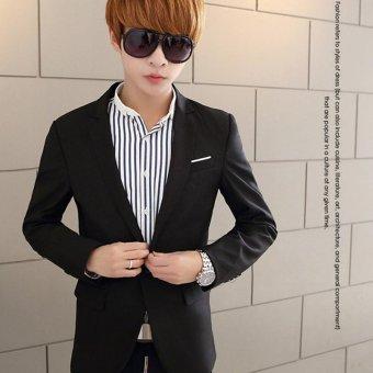 Men's Casual One Button Slim Fit Suit Coat Jacket (Black) - intl - 3