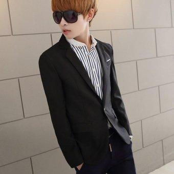 Men's Casual One Button Slim Fit Suit Coat Jacket (Black) - intl - 4