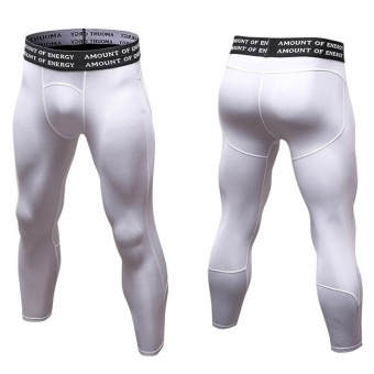 Men's Compression Fitness Pants 3/4 Sports Tights Leggings(White) - intl