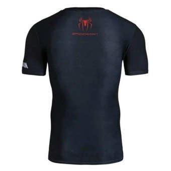 Men's Compression Shirt SuperHero Spiderman 3D Printed T-shirts Workout T-shirt Fitness Gym Clothing(Red) - intl - 2