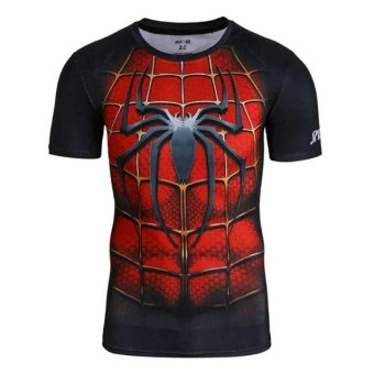 Men's Compression Shirt SuperHero Spiderman 3D Printed T-shirts Workout T-shirt Fitness Gym Clothing(Red) - intl