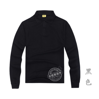 Men's Cotton Long Sleeve Turn-Down Collar Polo Shirt (Black)