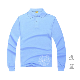 Men's Cotton Long Sleeve Turn-Down Collar Polo Shirt (Light Blue)
